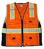 ML Kishigo 1514 Ultra-Cool Polyester Black Series Heavy Duty Vest, Extra Large, Orange
