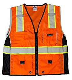 ML Kishigo 1514 Ultra-Cool Polyester Black Series Heavy Duty Vest, 2X-Large, Orange