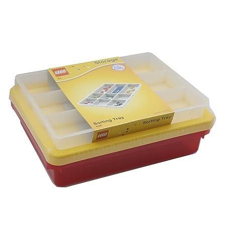 LEGO rojo caja de almacenamiento con amarillo tapa y bandeja