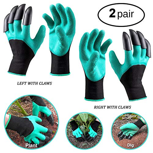 (Zunea Garden Gloves with Claws, 2 Pairs Professional Waterproof Gardening Genie Gloves for Men and Women, Safe for Rose Pruning, Quick and Easy for Digging Weeding Planting Poking (One Size Fit Most) )