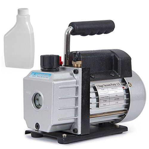 Globe House Products GHP 3CFM 1/3HP 1720RPM 1/4 Flare Inlet Rotary Vane Deep Vacuum Pump with Oil Bottle by Globe House Products