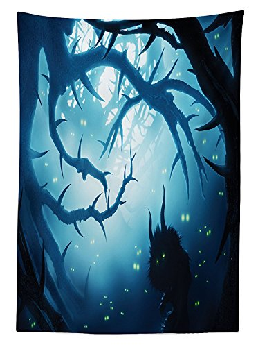 vipsung Mystic House Decor Tablecloth Animal with Burning Eyes in Dark Forest at Night Horror Halloween Illustration Dining Room Kitchen Rectangular Table Cover ()