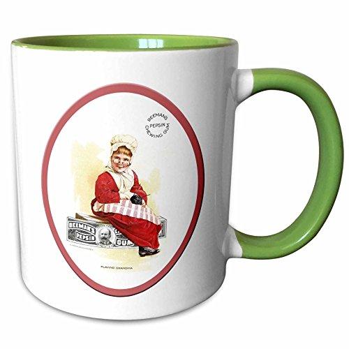 (3dRose 169588_7 Beemans Pepsin Chewing Gum Child Dressed in Grandm Ceramic Mug Green/White)