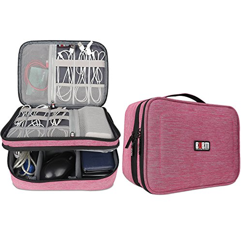 Pink Electronics (BUBM Electronic Organizer, Double Layer Travel Gear Bag for Cables, Plugs,  Flash Hard Drive, Power Bank and More--a Sleeve Pouch for iPad (Large, Denim Pink))