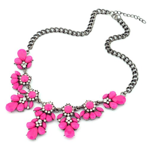 TONSEE Women Fresh Wild Fashion Delicate Clavicle Necklace (Hot Pink)