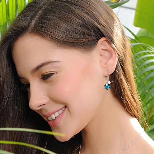 ❤Gift Packing❤ Crystal from Swarovski, Heart Earrings Tassels Pearls Eardrop Dangle Style Earrings, Birthday Birthstone Gifts for Women, Graduation Gifts by PLATO H (Image #3)