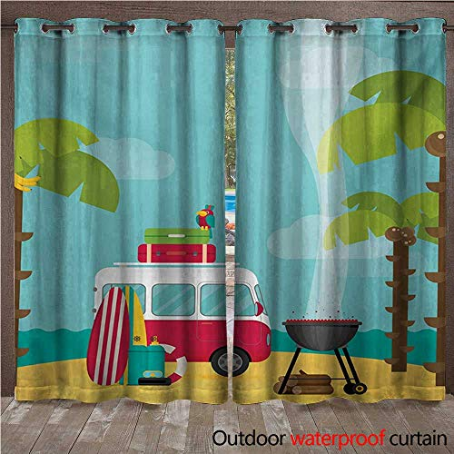 Bbq Giant Silver Trailer (WilliamsDecor Explore Outdoor Balcony Privacy Curtain Caravan Camping with Barbeque and Surf Boards Tropical Beach Banana Coconut Trees W96 x L84(245cm x 214cm))