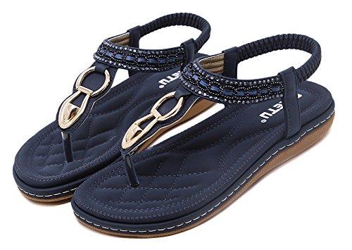 Bling Beach Thong Strap Flat Beaded Blue Womens Wentsven Sandals YA54qY