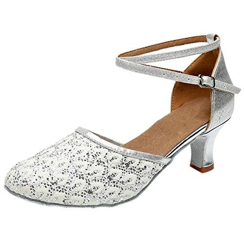 Azbro Mujer Zapato de Baile Latín con Lentejuelas Correa Cruzada Puntera Punta Plateado