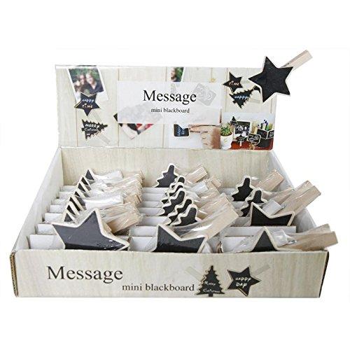 24 pezzi Lavagne Memo con mollette in legno –  regali Memo Clip lavagna Ciondolo Fiore Annastore