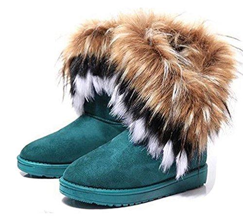 Kvinnor Vinter Varma Höga Långa Snö Boots Faux Räv Kaninpäls Tofs Skor Blå