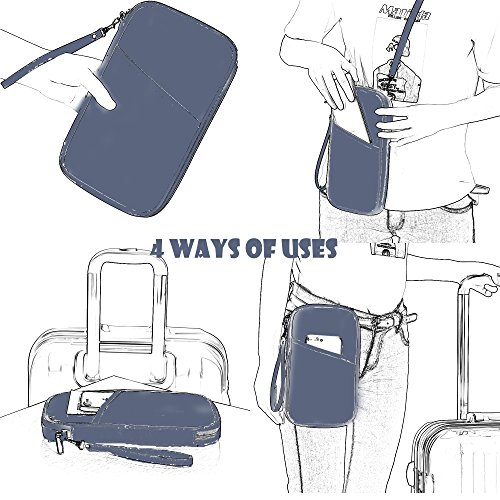 RFID Travel Passport Wallet & Documents Organizer with Neck and Hand Strap(Blue) by Athena YY (Image #3)