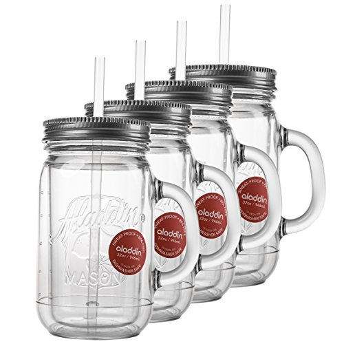 Plastic Mason Jar Set Handled Lidded Tumbler Drinking Cup Mug Glasses & Straws (Lidded Jar)