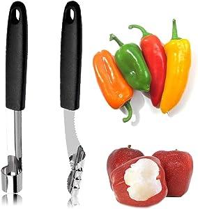 QELEG Set of 2 Chili Pepper Corer Apple Corer Stainless Steel Zucchini Cucumber Corers Apple Corer Kitchen Tool