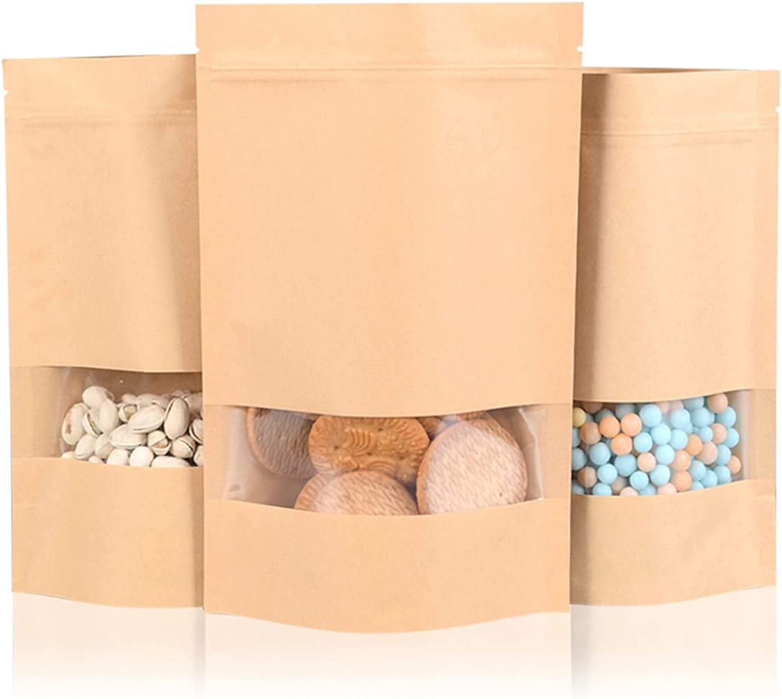 Clear Window Airtight Brown Kraft Paper Bags(100Pcs), Food Gift Bag with Resealable Lock Seal Zipper, Stand Up Food Bag for Coffee Beans Snacks Nuts Biscuits Party Small Gift Bag (3.5×5.5inchs)