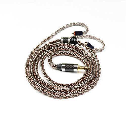 Senlee 8 Core Single Crystal Copper Sliver Foil Braided MMCX Upgrade Cable Earphone Replacement Cable Exchange Audio Cable 3.5MM Plug for Shure SE215 SE535 TIN Audio T2 Pro T3(3.5MM Plug, MMCX)