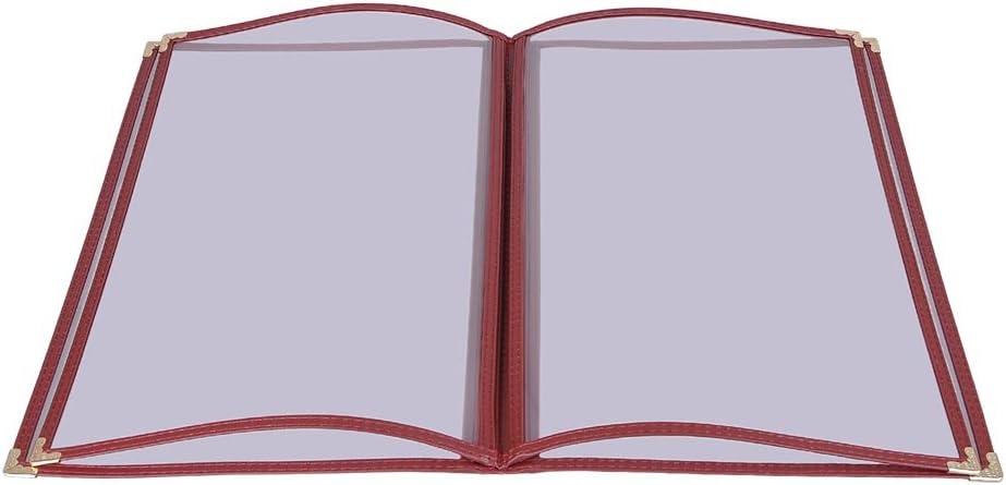 30 Pack of WeChef Menu Cover Triple Fold 6 View Double Stitch Trim Fit 8.5X14 Paper Transparent Cafe Restaurant Burgundy