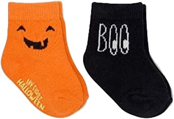 Just One You Halloween Socks 2 Pk Orange Pumpkin Black BOO 6-12 Mos