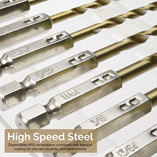 "Tooluxe 10171L 13-Piece Titanium Drill Bit Set, High Speed Steel | Quick Change 1/4"" Hex Shank"