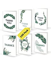 Bilinny Greenery Thank You Cards with Envelopes Bulk Pack of 100 Extra Heavy 4x6 Cards In Beautiful Box, 6 Unique Nature Theme Designs, Botanical Leaf Thank You Cards for Wedding, Baby & Bridal Shower