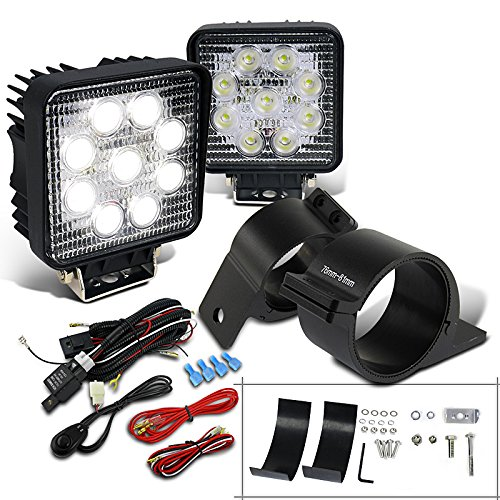 (Spec-D Tuning LF-4009SQX2-UNV300 Fog Light (LED Square Work Wiring Switch Kit Mounting Bracket))