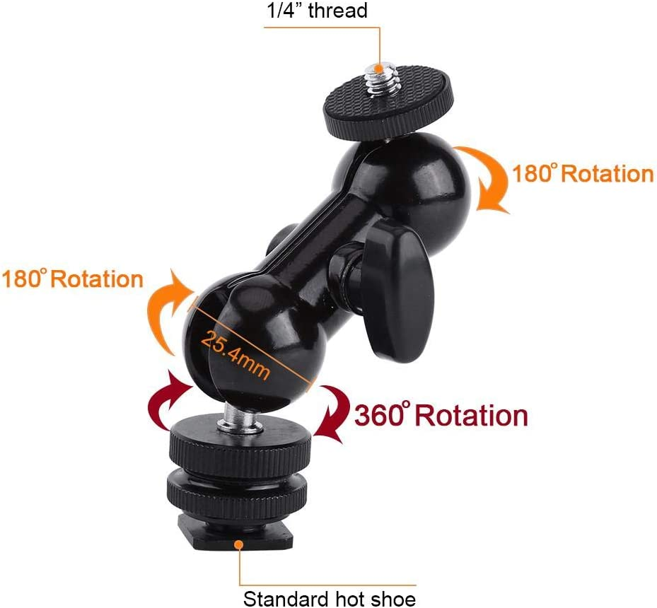 Multi-Function Standard Hot Shoe with 1//4 Screw for Video Light Diyeeni Double Ballhead Mount with Hot Shoe Adapter