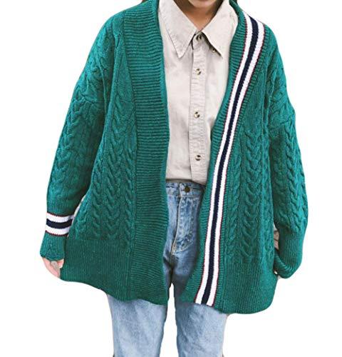(ニカ) レディース カーディガン 長袖 ニットカーディガン ゆったり ケーブル編み 無地 韓国ファッション アウター BF風 原宿風 おしゃれ 秋 冬 コーディガン 女
