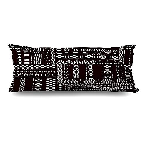 Ahawoso Body Pillows Cover 20x54 Inches Grunge Brown Mud Black White African Mudcloth Abstract Geo Border Pattern Boho Hand Ethnic Zippered Cushion Case Home Decor Pillowcase