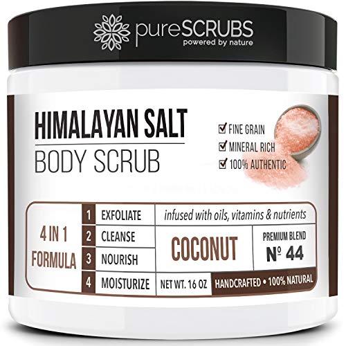 pureSCRUBS Premium Pink Himalayan Salt Body Scrub Set – Large 16oz COCONUT SCRUB, Organic Essential Oils & Nutrients…