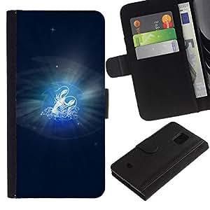 All Phone Most Case / Oferta Especial Cáscara Funda de cuero Monedero Cubierta de proteccion Caso / Wallet Case for Samsung Galaxy S5 Mini, SM-G800 // Cancer Zodiac Sign