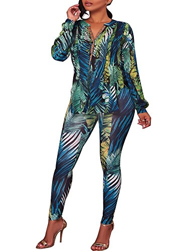 YouSun Women's Casual Floral Print Tops Pants 2 Pieces Outfit Jumpsuits Rompers