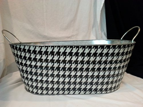 Black and White Houndstooth Covered Galvanized Metal Tub Bucket By Bread And Budder Buckets 23 Inches X 15 Inches X 9 Inches