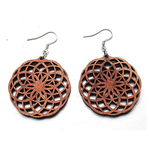 - Seed of Life Wood Earrings Double, Crop Circles, Sacred Geometry Jewelry