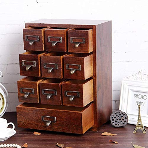 Primo Supply Traditional Solid Wood Small Chinese Medicine Cabinet l Vintage and Retro Look with Great Storage Apothecary Drawer Herbal Dresser l Great for Modern Things | Tall - Fully Assembled (Wood Stacking Drawers)