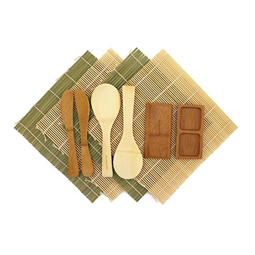 BambooMN Deluxe Sushi Maker Kit 2 SETS of 2x Rolling Mats, 1x Rice Paddle, 1x Spreader, 1x Compartment Sauce Dish | 100% Bamboo Mats and Utensils by BambooMN (Image #1)