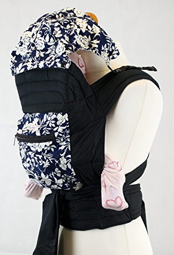 Mei Tai Hip Carrier (Blue and White Floral Floral Mei Tai Baby Sling Carrier With Hood and Pocket)