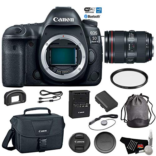 Canon EOS 5D Mark IV Digital SLR Camera with 24-105mm f/4L II Lens - Bundle with UV Filter + Canon Carrying Bag + Cleaning Kit + More (International Version) (Canon 5d Mark Iii Kit 24 105)