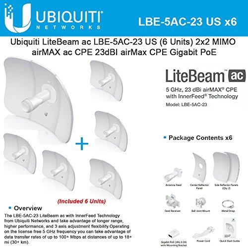 Ubiquiti LiteBeam LBE-5AC-23 US Bundle 6, 5GHz, 23dBI airMax CPE, Gigabit PoE by Ubiquiti Networks
