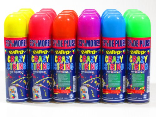 96 Pack Party Crazy String Streamer Spray Can Wholesale Wholesale Bulk Lot by Mega