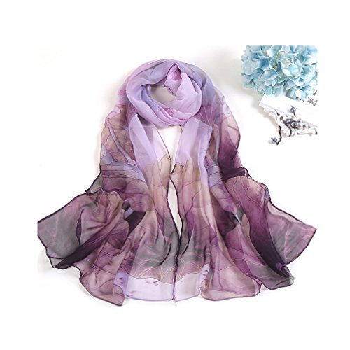 Print Silk Wrap - MELODY STORY Unique Print Silk Feeling Scarf For Women 63x20 Inches(purple)