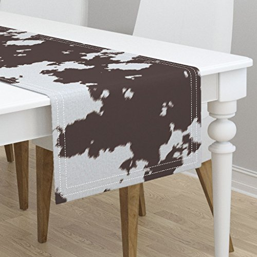 Table Runner - Cow Print Cow Print Hide Fur Cow Hide Rodeo Cowboy Country Western Animal Print by Themadcraftduckie - Cotton Sateen Table Runner 16 x - Cowhide Western Rodeo