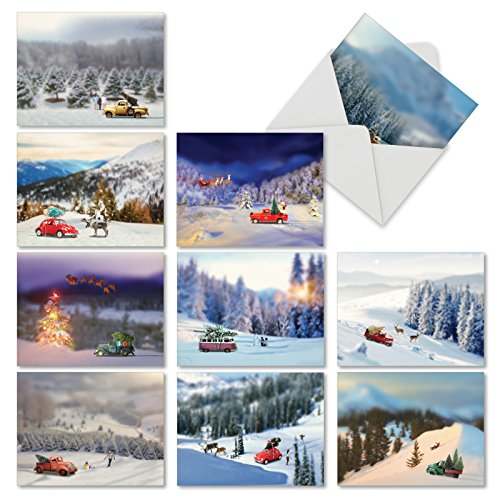 Boxed Set of 10 'Toy Trucks 'N Trees' Blank Christmas Greeting Cards - Wintry Scenes with Car Figurines Holiday Notes 4 x 5.12 inch, Seasonal Christmas Display Holiday Cards ()