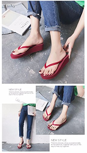 flops red slopes summer beach thick antiskid bottom Flip shoes and female wear fashion BqwSB47d
