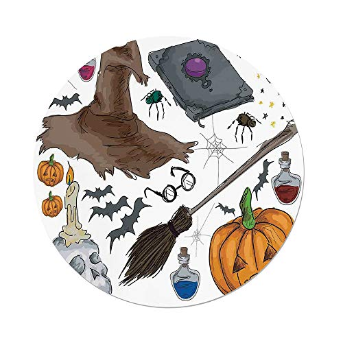 iPrint Polyester Round Tablecloth,Halloween Decorations,Magic Spells Witch Craft Objects Doodle Style Grunge Design Candle Skull,Multi,Dining Room Kitchen Picnic Table Cloth Cover,for Outdoor Indoor