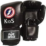 Luva De Muay Thai Boxe Infantil Kids Fight Brasil 4 Oz Preta