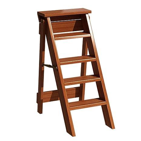 Amazon.com: Escalera plegable multifunción de madera maciza ...