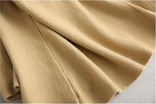 Khaki Half Long Knitting sleeve Loose Height Sweaters QXH collar Women's PfwZqz