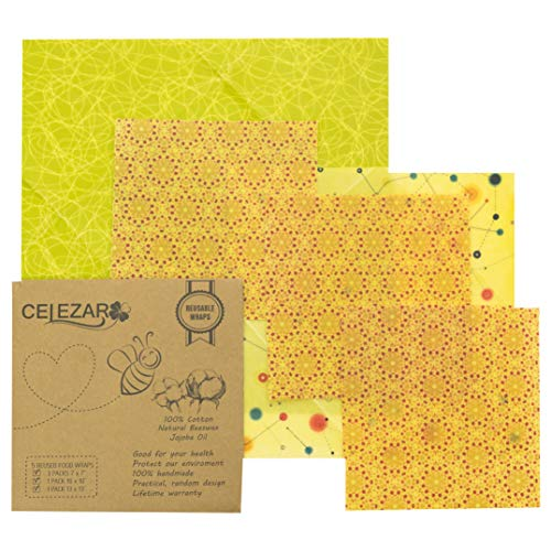 (5 pack) Reusable Beeswax Food Storage Wrap - Handmade, Natural Eco Friendly, Sustainable & Washable, Plastic Free & Biodegradable, Cover Bowl - 1 Large, 1 Medium, 3 Small with Life Color (Eco Wrap)