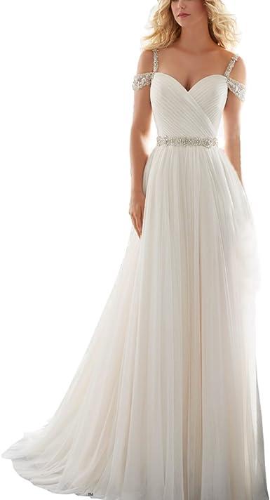 Vestiti Da Sposa Taglia 46.Abwedding Donne Una Linea Backless Pieghe Cristallo Perline