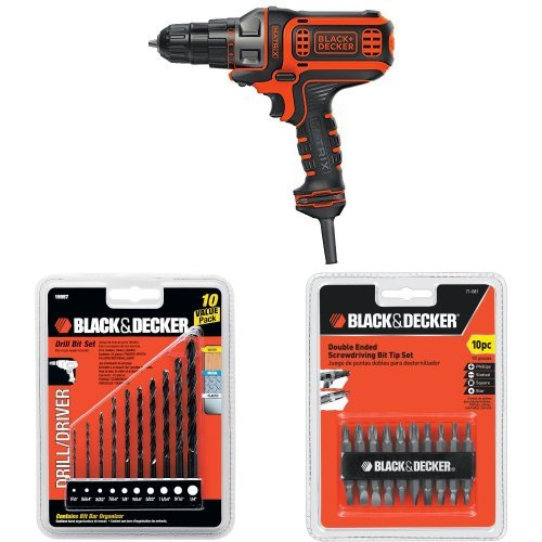 BLACK+DECKER BDEDMT Matrix AC Drill/Driver with 15557 Drill Bit Set, 10-Piece and 71-081 Double Ended Screwdriving Bit Set, 10-Piece